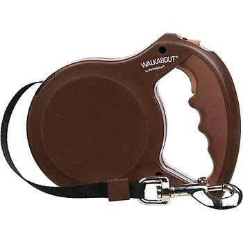 Aspen Pet 0324307 Petmate Walkabout Retractable Belted Leash for Dogs Upto 110 Pounds, 16 Feet, Large (Chocolate Brown)