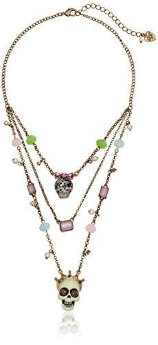 Betsey Johnson Women's Pet Shop Vintage Skull Illusion Necklace Multi/Brass Ox Pendant Necklace
