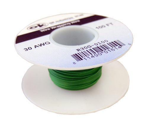 Jonard Industries R30G-0100 Kynar Coated Green Wire, Silver Plated, 100' Roll, 30 AWG