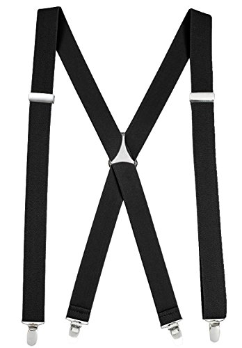 Suspenders For Men X-back Adjustable Straight Clip on Suspenders Made in USA - Sizes 46 and 54
