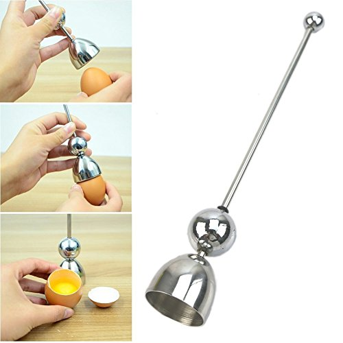 OFKP® Stainless Steel Egg Opener,Complete cut raw eggs and cooked eggs available