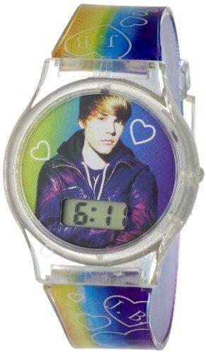 Justin Bieber Kids' JB1024  Round Multi-Colored Digital Plastic Strap Watch