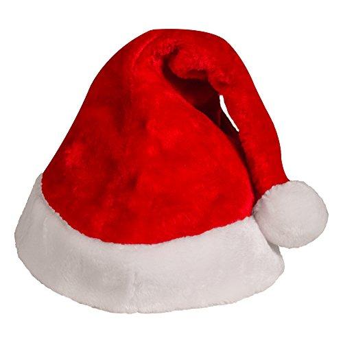 Plush Red Velvet Santa Hat with White Cuffs (2 Pack)