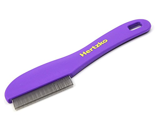 Flea Comb with Double Row of Teeth By Hertzko - Double Row of Closely Spaced Metal Pins Removes Fleas, Flea Eggs, and Debris from Your Pet's Coat - Suitable For Dogs And Cats
