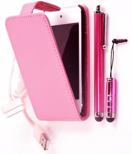 R.BAWA. PACK OF 5. Pink Flip Leather Case For APPLE IPOD TOUCH 4, 4TH Generation + Screen Protector + 2 Stylus + USB Data Cable