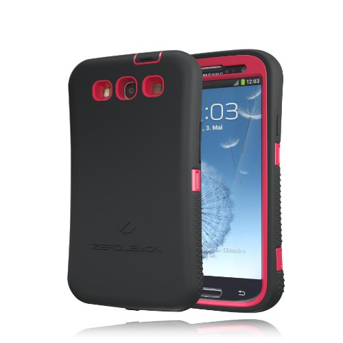 [180 Days Warranty] Zerolemon Red / Viper Black Zero Shock Series for Samsung Galaxy S3 S III I9300 - Covers All Battery Sizes - Worlds Only Universal Form Fitting Case. Rugged Hybrid Case Includes Built in Screen Protector, Belt Clip and Kickstand Usa Patent Pending