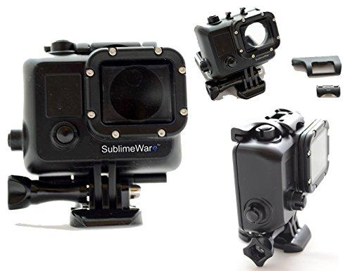 SublimeWare® - Waterproof Blackout Housing Case for SJCam SJ400 Gopro hero3 hero3+ hero4 action cameras Matte Black Out Concealment Underwater (30m)