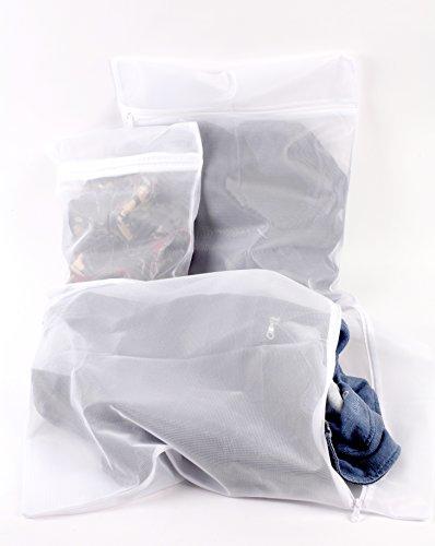 Laundry Mesh Washing Bag (Set of 3) Lingerie Bags for Laundry, Washing Bags For Delicates, White