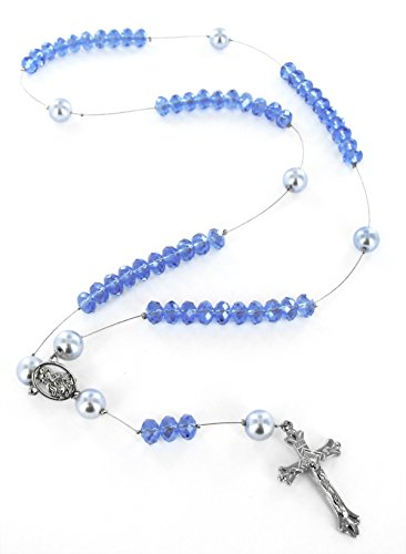 Linpeng Do it Yourself Crystal and Pearl Beads Rosary Kit, Sky Blue