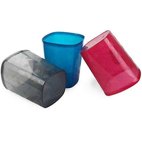 HOMMP 3-Pack Plastic Wastebasket, Rectangular, 2.6-gallon