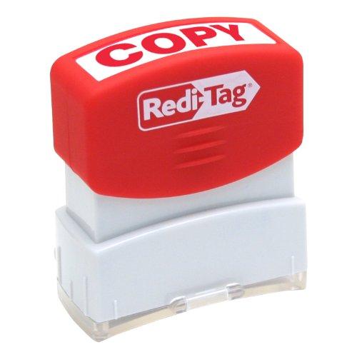 Redi-Tag-Pre-Inked Copy Stamp, Impression Size:9/16 X 1-11/16-Inch, Red-97008