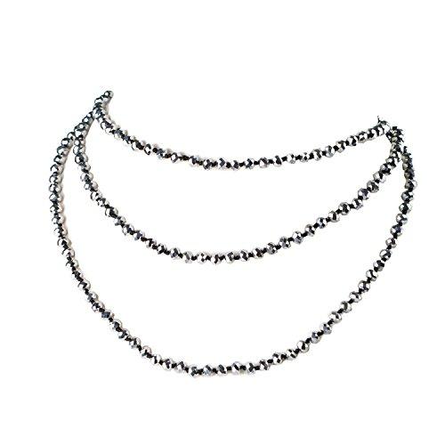 Bling Multi-use Silver Tone Beads Multi Strand Long Necklace Bracelet Rhinestone Ball Magnetic