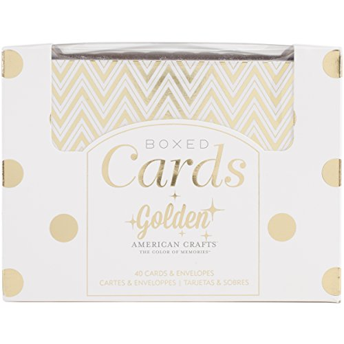 American Crafts A2 Cards & Envelopes (4.25X5.5) 40/Pkg-Golden-Gold Foil