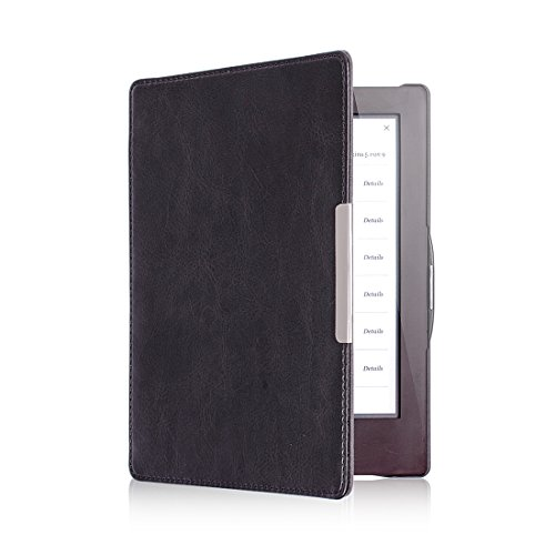 Premium Folio Leather Cover Built-in Magnetic Closure and Auto Sleep Mode for Kobo Aura HD eReader - Color Black