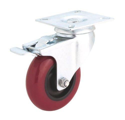 Steelex D2612 5-Inch Swivel Double Lock Polyurethane Plate Caster, 300-Pound