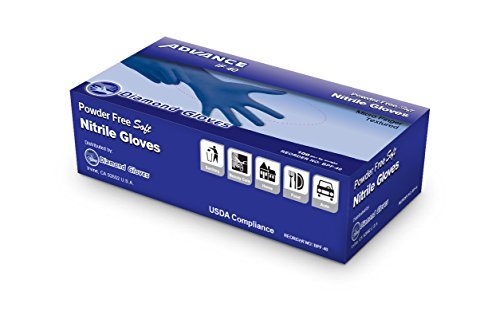Diamond Gloves Advance Powder-Free Soft Nitrile Industrial Gloves, Blue, 4 mil, X-Small, 100 Count