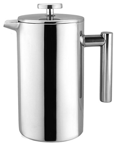Bruntmor, KOBIA 34oz Double Wall 18/8 Steel French Coffee Press with Non Drip Spout & Double Filter