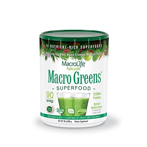 Miracle Greens Macro Greens Nutrient-Rich Super Food Supplement, 90 Day Supply, 30 Oz (850 G)