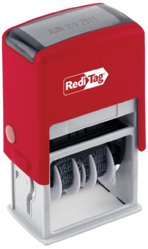 Redi-Tag Self-Inking Standard 5-in-1 Date Stamp, Stamp Impression Size: 7/8 x 1-5/8 Inches, Blue and Red (97013)