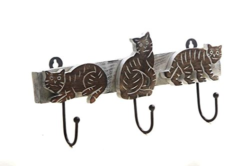 Christmas Gifts Handmade Metal 3 Pegs Wooden Cat Shaped Wall Mounted Key Clothes Hook Holder Decorative Accessories Home Decor Accents Gift