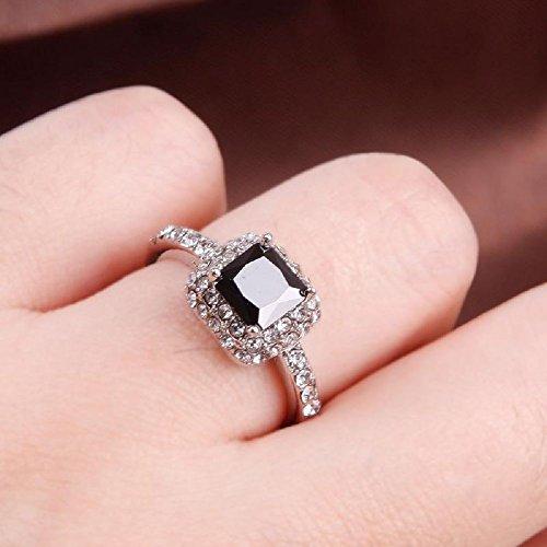 Woman Lady Retro Style Square Black Zircon Full Crystal Ring Jewelry