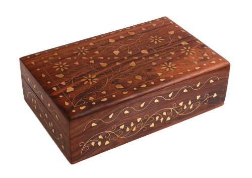 Mothers Day Gift Beautiful Hand Carved Rosewood Trinket Jewelry Box with Mughal Inspired Brass Inlay & Velvet Interior