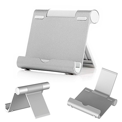 iPad Stand, Skiva Desktop Multi-Angle Adjustable Portable Aluminium Stand Holder for iPad Pro Air mini, iPhone 6s Plus, Samsung Galaxy S7 S6 Edge Smartphones, Tablets, E-readers (Silver) [Model:ES102]