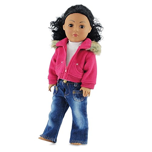 18 Inch Doll Clothes/clothing Fits American Girl - Fur Collar Jacket with Jeans Outfit Includes 18 Dolls Accessories