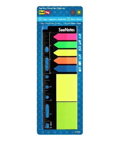 Redi-Tag SeeNotes Page Boss - Page Flags/Sticky Notes on a Ruler, 125 Arrow Flags, 50 Sticky Notes, Assorted Neon Colors (31073)