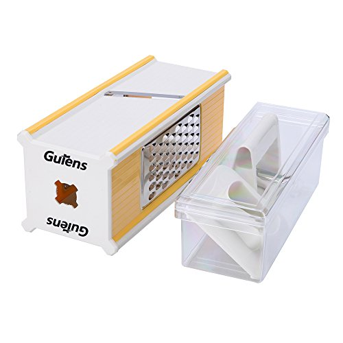 Gutens 4-Side Hand-held Vegetable Slicer Cheese Grater/Zester Mandoline Slicer Vegetable Julienne Box Slicer Set 5 in 1