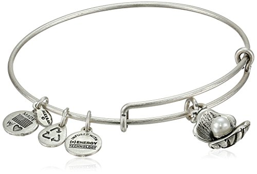 Alex and Ani Bangle Bar Oyster and Pearl Rafaelian Silver Finish Expandable Bracelet, 7.75