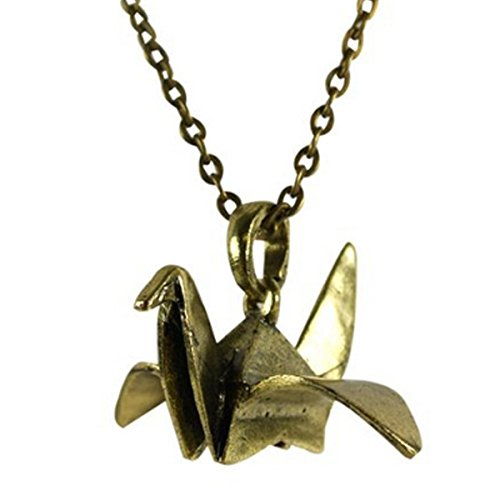 Wrapables Antique Finish Origami Crane Necklace