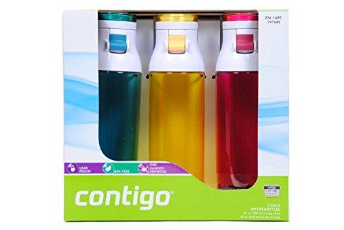 Contigo 24oz Jackson Water Bottles, 3 Pack (Seagoing, Marigold, Sangria)
