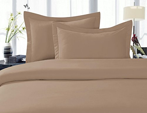 Celine Linen ® Wrinkle & Fade Resistant 1500 Series ULTRA SOFT LUXURIOUS 3-Piece Duvet Cover Set, Solid, Full/Queen, Taupe