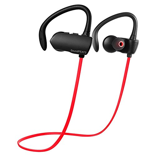 SoundPEATS Wireless Earbuds for iPhone7 iPhone 7 Plus Sweatproof Secure Fit Bluetooth Headphones for Running (Bluetooth 4.1, aptx, Secure Ear Hooks Design, 6 Hours Play Time) - Q9A+ Red