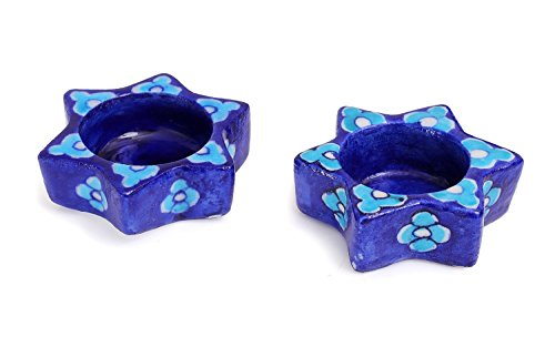 Set of 2 Votive Tea Light Candle Holder Star Shape with Floral Motif, Home Lighting Christmas Decorations