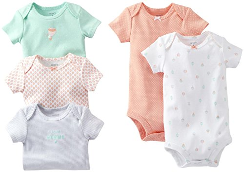 Carter's Baby Girls' 5 Pack Bodysuits (Baby) - Coral - Preemie