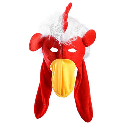 Chicken Hat and Mask Plush Rooster Hat Novelty Hats Funny Party Hats ®