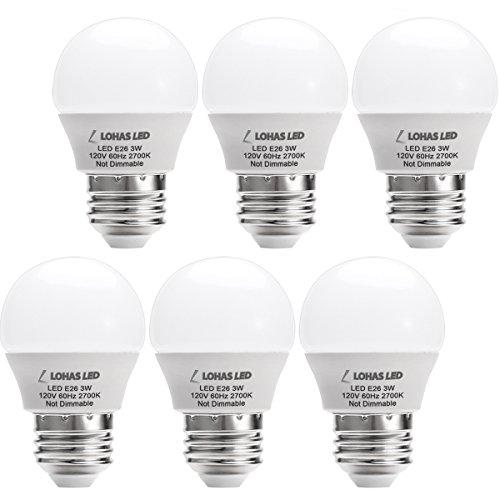 LOHAS 3W G14 E26 Led Bulbs,25 Watt Incandescent Bulb Equivalent,Warm White/Soft White 2700K LED Light Bulb,Energy Saving Light Bulbs, LED Lights for Home(6 Pack)
