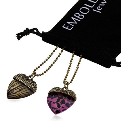 Bronze Bead Ball Chain Necklace Set withCharm Animal Print Pendants