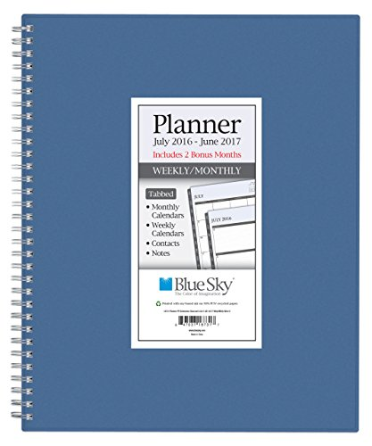Blue Sky 2016-2017 Academic Year Weekly & Monthly Planner, Wire-O Binding, 8.5 x 11, Blue Cover (18733)