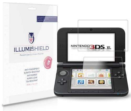 Nintendo 3DS XL Screen Protector [3-Pack], iLLumiShield - Japanese Ultra Clear HD Film with Anti-Bubble and Anti-Fingerprint Invisible Shield