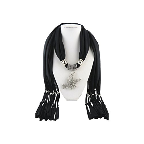 Black Scarf Shawl in Silver with Vintage Charm Silver Studded Crystals Dove Bird Pendant