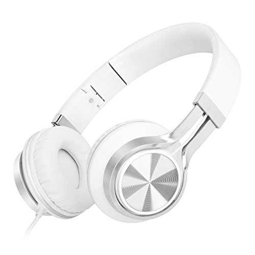 Sound Intone HD200 Stereo Lightweight Folding Headsets with Microphone,communication Headphones,Computer Headphone,Stretchable Headband,Remote Control Button,,Bass Headset,with Soft Earpad Earphones for Iphone,All Android Smartphones,Pc,Laptop,Mp3/mp4,Tablet Earpieces Wired Music Earphone(White) ¡