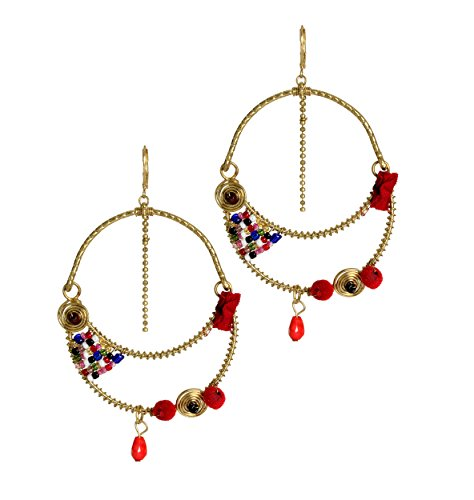 Gorgeous Pair of Tribal Dangle Disc Earrings Handcrafted Fashion Jewelry for Women & Girls
