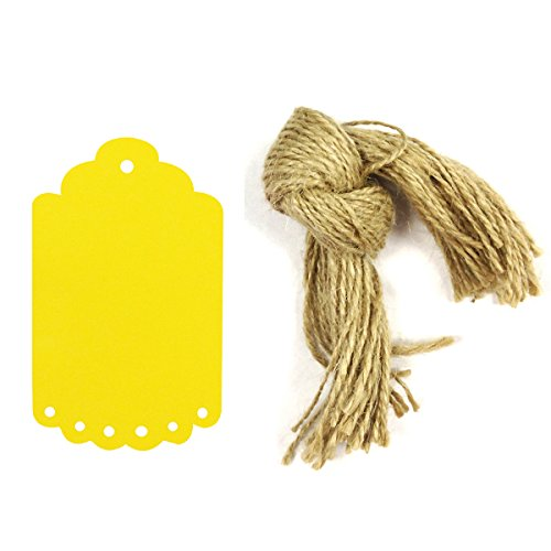 Wrapables 50 Count Gift Tags/Kraft Hang Tags with Free Cut Strings for Gifts, Crafts and Price Tags, Small Scalloped Edge, Yellow