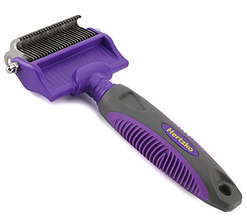 Dematting Comb with Double Sided Professional Rake By Hertzko - Suitable for Dogs and Cats - Removes Loose Undercoat, Tangles, Mats and Knots - Great Grooming Tool for Brushing and Deshedding