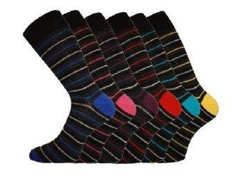 6 Pk Mens Pierre Calvini Multi Stripe Cotton Rich Sock