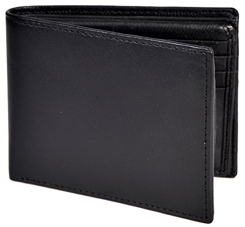 Champs Men's Genuine Leather Black Bifold Wallet 16 Card Slots 2 ID Windows