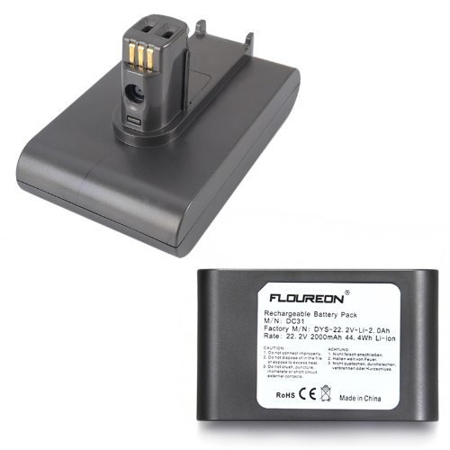 FLOUREON® High Capacity LG Rechargeable DC31 Battery Pack for Dyson DC31 DC34 DC35 Handheld Vacuum Cleaner 17083, 17083-01, 17083-05, 17083-07, 17083-09, 17083-2811, 17083-5211, 64167-1113, 64167-2713 (22.2V/2000mAh/6-Cell)